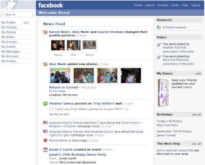 feed de noticias facebook em 2006